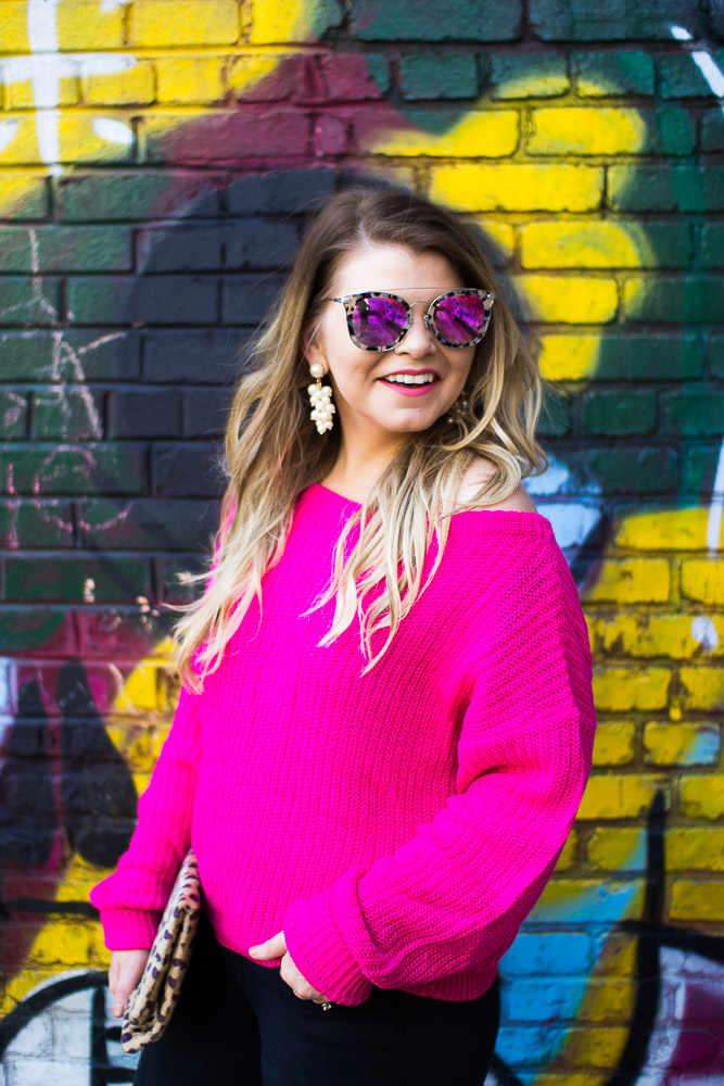 The Glitter Gospel Blog wearing pink for fall. Pink Sweater, Off Shoulder Sweater, Pink Faux Fur Mules, Black Distressed Denim, Diff Eyewear, Leopard Clutch.