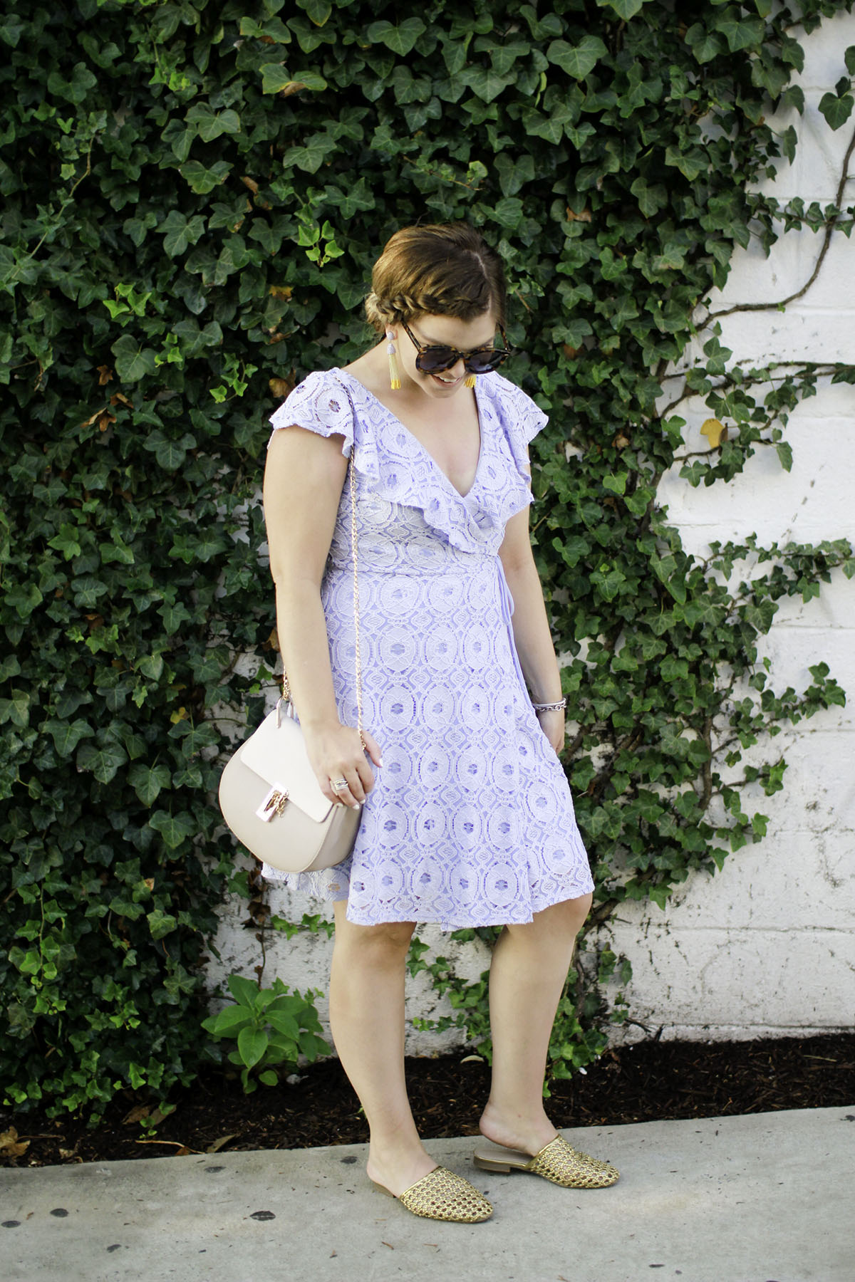 The Glitter Gospel Blog shares the perfect end of summer dress + end of summer outfit ideas. Powder Blue Lace Dress, Wedding Outfit Ideas, Gold Cage Slides, Easy Outfits, Braided Updo, Green Ivy Backdrop, Ocean City MD, Chloe Drew Dupe. When the Little Things Don't Matter. . . How you can help with Harvey by TN fashion blogger The Glitter Gospel