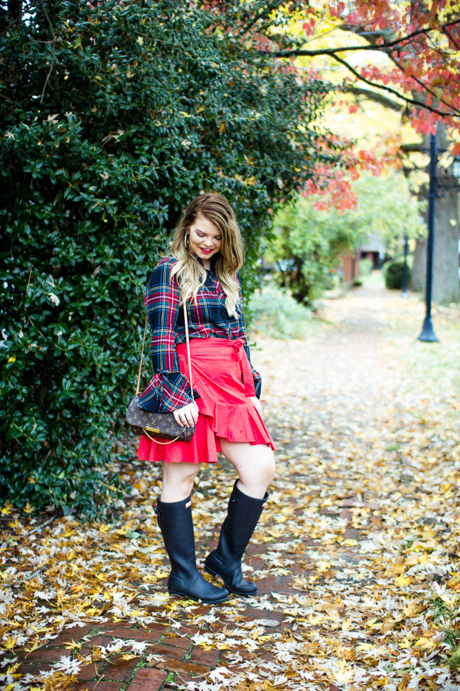 Easy Holiday Outfit. The Glitter Gospel, Black Hunter Boots, Red Wrap Skirt, Tartan Flannel, Red Lipstick, Louis Vuitton Favorite MM
