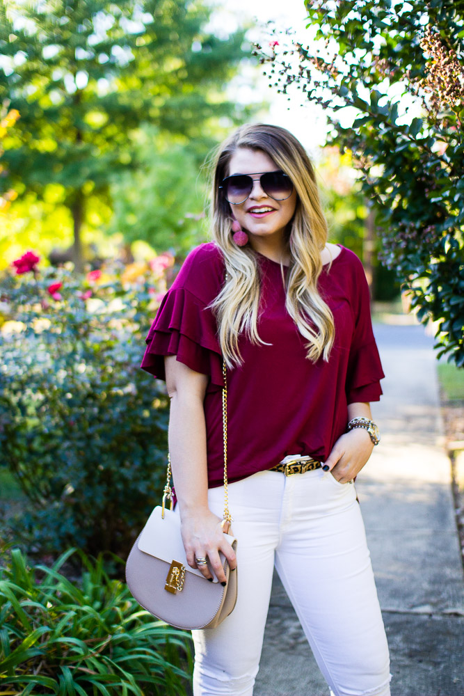 An Easy Fall Look with the Rach Parcell Everyday Collection from The Glitter Gospel Blog. Rach Parcell, Pink Suede Heels, White Jeans for Fall, Chloe Drew Dupe, Pom Pom Earrings