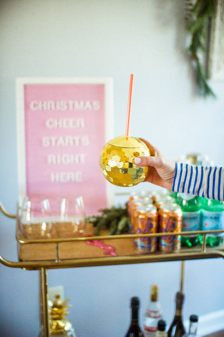 Holiday Home Decor Tour With The Glitter Gospel. Bar Cart, Letter Board,  Pink