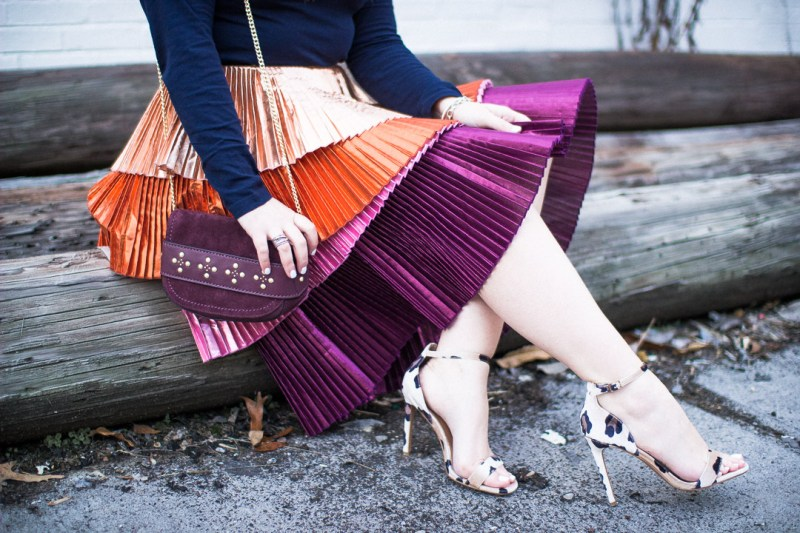 New Years Eve outfit with The Glitter Gospel. Tennessee blogger, rent the runway skirt, metallic tiered skirt, party outfit ideas, leopard heels, vera bradley carson bag.