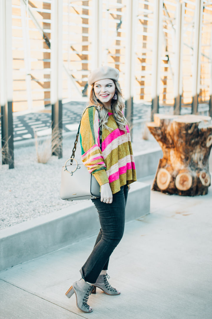 Free people striped sweater, The Glitter Gospel, Knoxville Blogger, Tennessee Fashion Blogger, Tennessee Blogger, Madewell Cali Demi Boot, Jeffrey Campbell Kors, Elkmont Exchange