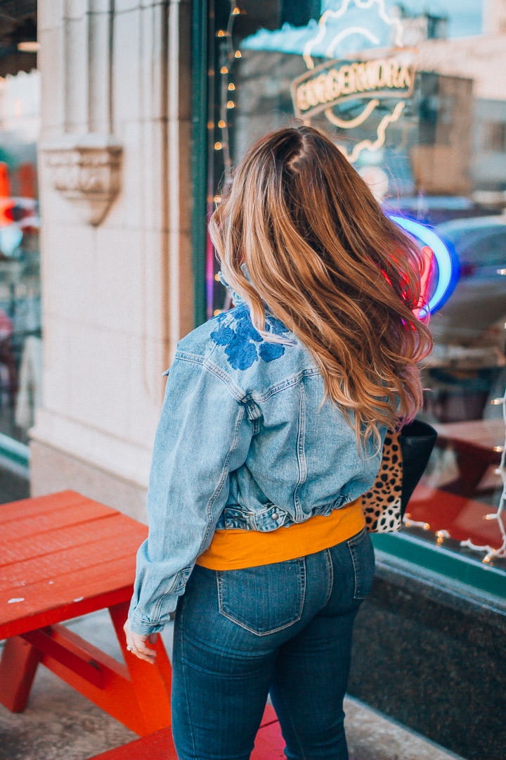 Free People denim jacket and flare jeans, The Glitter Gospel, Tennessee Blogger, Jeffrey Campbell Kors, Clare Vivier Leopard Sandrine