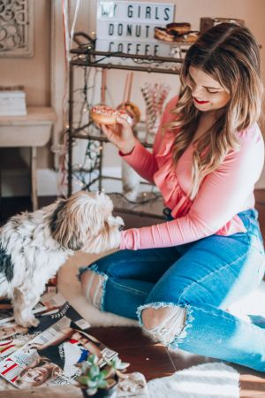 Galentine's Day with The Glitter Gospel and Pearls and Twirls. Knoxville TN, Galentines Day, J Crew, Bodysuit, Donuts, Marquee Sign, Distressed Denim, Vogue, Donuts