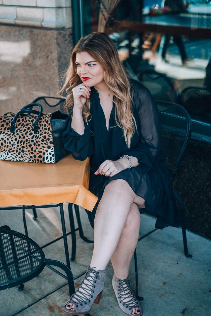 The Glitter Gospel little black dress outfit. Rebecca Minkoff Dylan Dress, Asheville NC, Clare Vivier Leopard Sandrine, Asheville NC, Little Black Dress, date night style