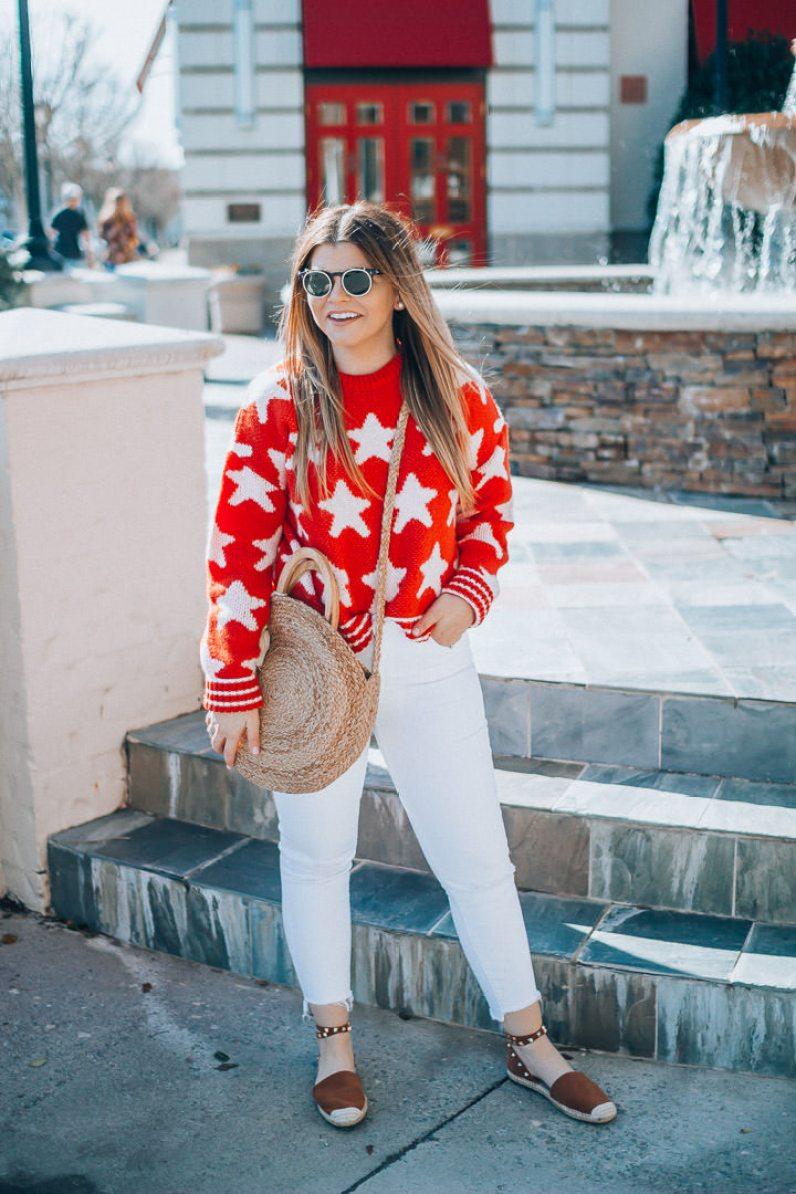 Smart Buy Glasses, Affordable Designer Sunglasses, Star Print Sweater, White denim, Schutz espadrilles, straw tote, The Glitter Gospel, Tennessee Blogger