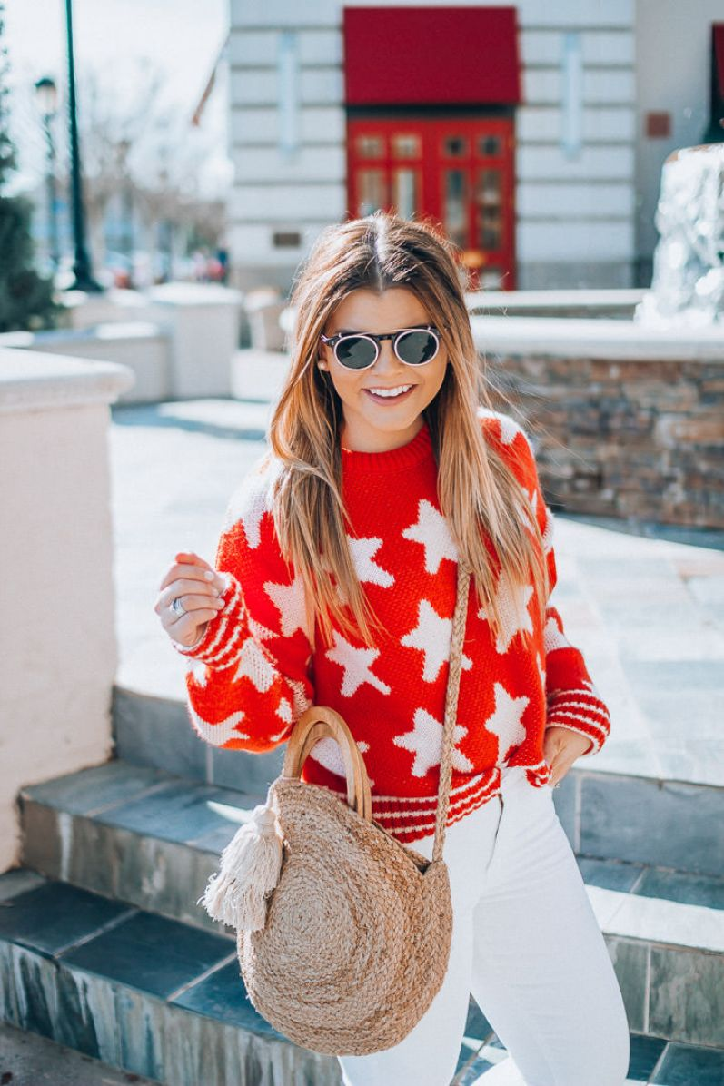Smart Buy Glasses, Affordable Designer Sunglasses, Star Print Sweater, White denim, Schutz espadrilles, straw tote, The Glitter Gospel, Tennessee Blogger
