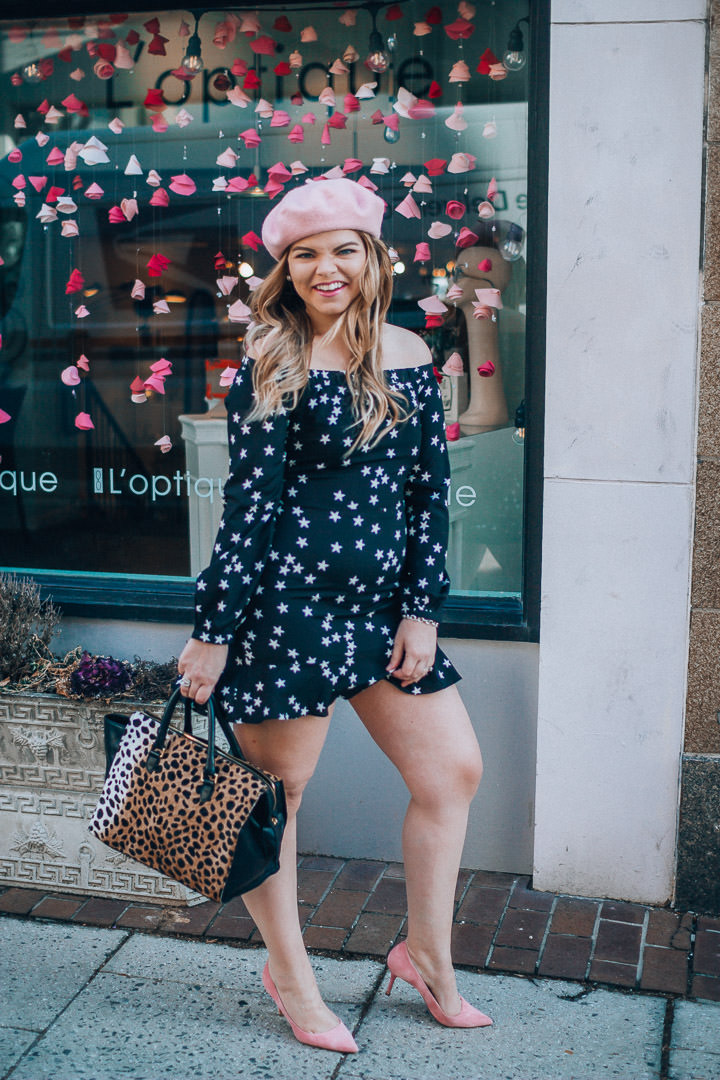 A Parisian Inspired Valentine's Day Outfit with The Glitter Gospel, Star Print Dress, Clare V Sandrine Leopard, Pink Beret, Pink Heels, Tennessee Blogger