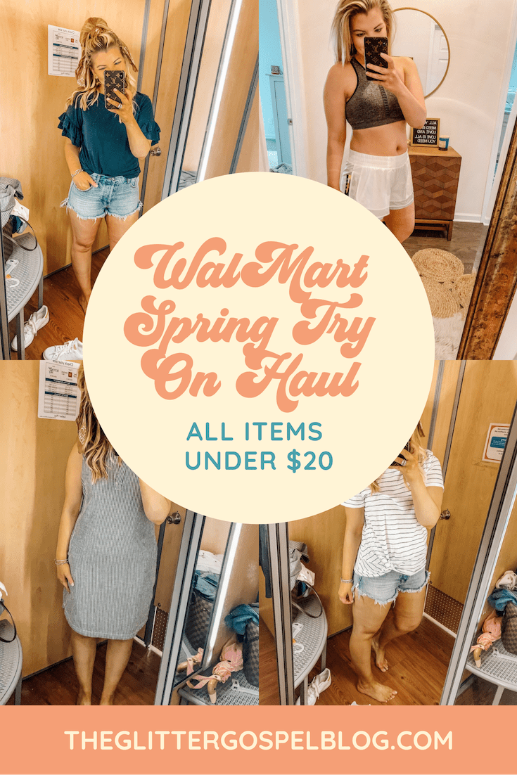 WalMart Spring Try on Haul | The Glitter Gospel | Tennessee Blogger | Affordable Spring Outfits | Knoxville Blogger | Shift Dress | Denim Shorts | Basic Tee Shirt | Athletic Shorts