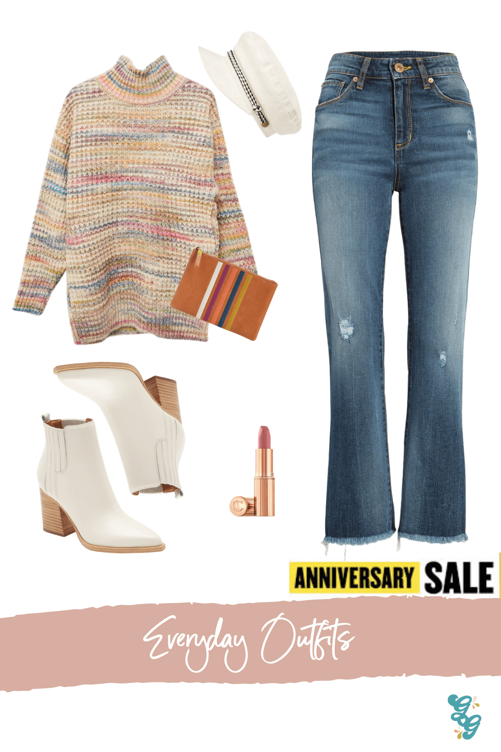Everyday Fall Outfits from the NSALE | NSALE 2020 | The Glitter Gospel, Brooke Distressed High Waist Crop Flare Jeans, Space Dye Turtleneck Sweater, Charlotte Tilburry Pillow Talk, Oshay Pointed Toe Bootie MARC FISHER LTD, Madewell Clutch, Brixton Baker Boy Cap