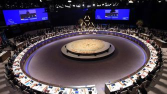 World Leaders Wearing Their Occult Symbol Of The Pyramid At Major International Meeting