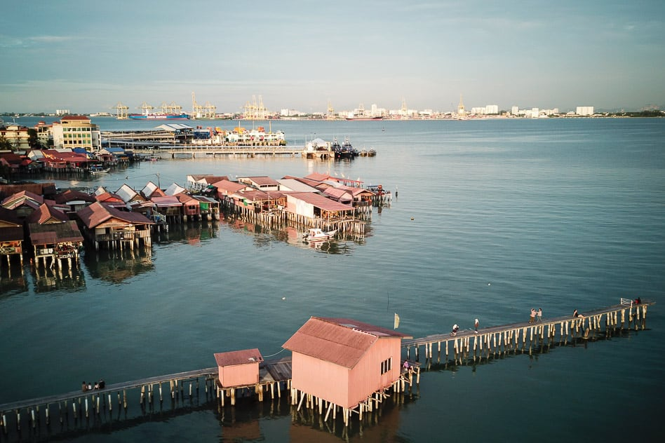 Chew Jetty George Town Malaysia Sunset Drone