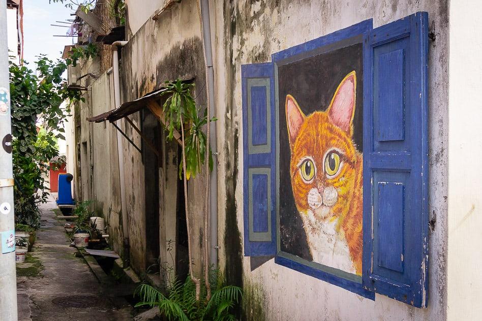 George Town Penang Malaysia Street Art Cat Window