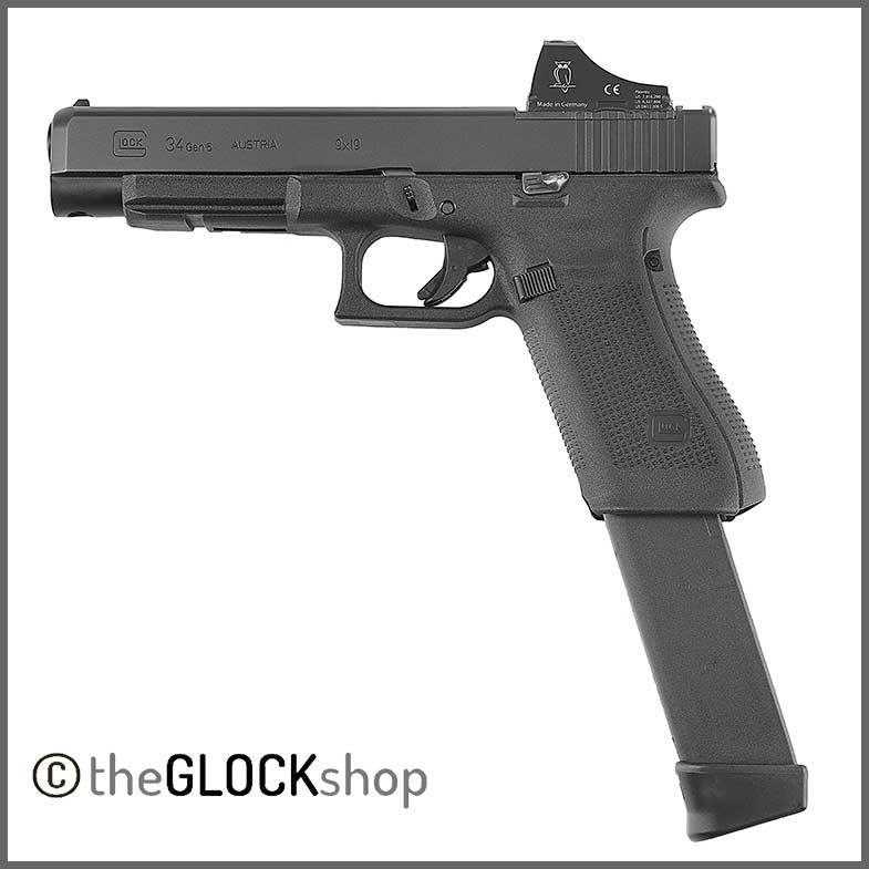 Glock 34 MOS with 33 round high capacity magazine