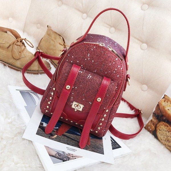 Red Sparkly Star Pocket Front Mini Backpack with Double Zipper