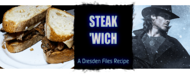 Mac's Steak Sandwich inspired by The Dresden Files by Jim Butcher, featuring beer-marinated steak, asiago cheese, and carmelized shallots. Recipe by The Gluttonous Geek.