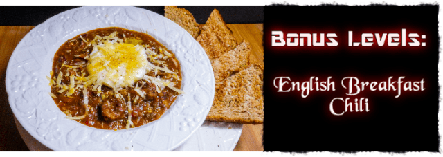 English Breakfast Chili made with baked beans, sausage, white pudding, bacon, and tikka masala sauce. Recipe by The Gluttonous Geek.