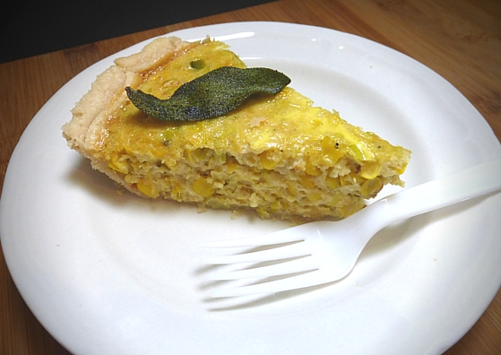 Corn and Leek Quiche with Fried Sage Garnish from Orange is the New Black. Recipe by The Gluttonous Geek.