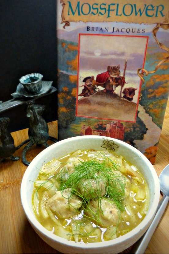 This recipe for Fennel and Celery Stew with Hazelnut Dumplings is inspired Bella of Brockhall from Brian Jacques's Mossflower. Recipe by The Gluttonous Geek.