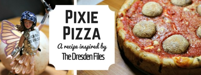 This Chicago-style deep dish pizza is inspired by the faerie 'Za Lord Elite from The Dresden Files and features fresh thyme and mushrooms. Recipe by The Gluttonous Geek.