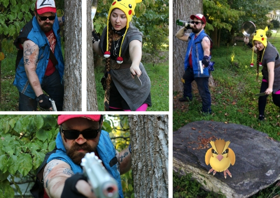 Daniel Roach as Post-Apocalyptic Ash Ketchum for some Cosplay in the Kitchen and Glazed Pidgey with The Gluttonous Geek.