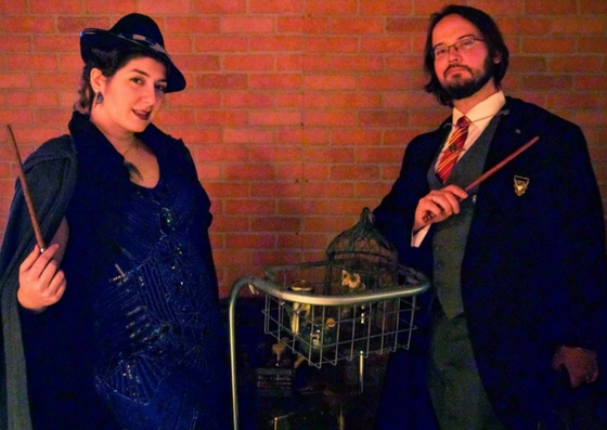 1920's Rowena Ravenclaw and Godric Griffyndor in The Gluttonous Geek's recap of the 2016 Hogwarts Yule Dinner at Battle and Brew.
