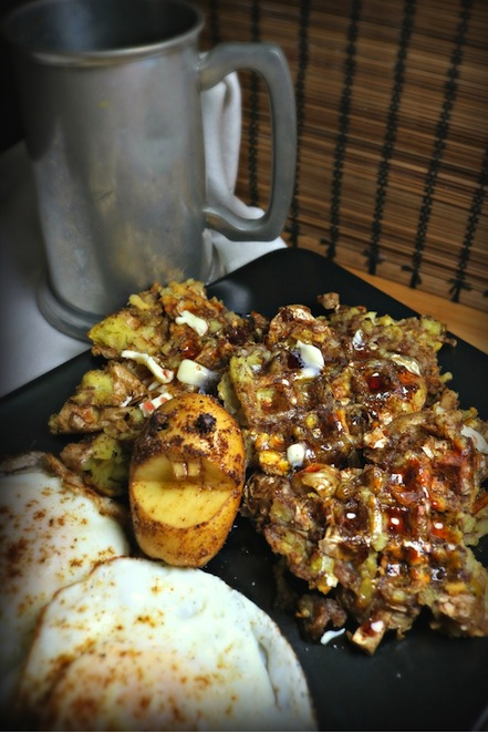 The recipe for Spiced Potato Waffles, inspired by the podcast Hello from the Magic Tavern. Recipe by The Gluttonous Geek.