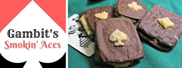 Gambit's Smoking Aces: Spicy Chocolate Cookies with Bourbon Molasses Buttercream. Recipe by The Gluttonous Geek.
