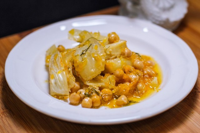 Dornish Olive Oil Braised Fennel with Chickpeas, Orange, and Harissa Powder, inspired by Game of Thrones and the Song of Ice and Fire series.