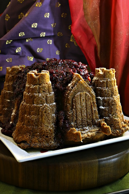 Cersei's Drunken Red Keep Cake with Raspberries inspired by Game of Thrones and A Song of Ice and FIre. Recipe by The Gluttonous Geek.