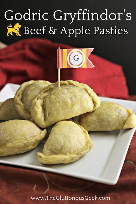 This recipe for Beef and Apple Pasties, made with tea-caramelized onion and blue cheese, is inspired by Hogwarts Founder Godric Gryffindor. Recipe by The Gluttonous Geek.