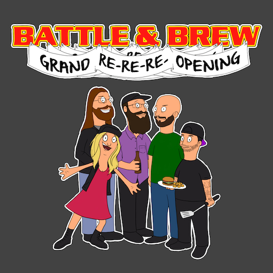 Battle and Brew Re-Opening Bob's Burgers parody image by Laura Houser.