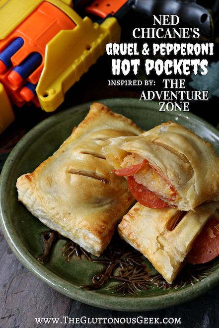 Gruel and Pepperoni Hot Pockets inspired by Ned Chicane from The Adventure Zone. Recipe by The Gluttonous Geek.