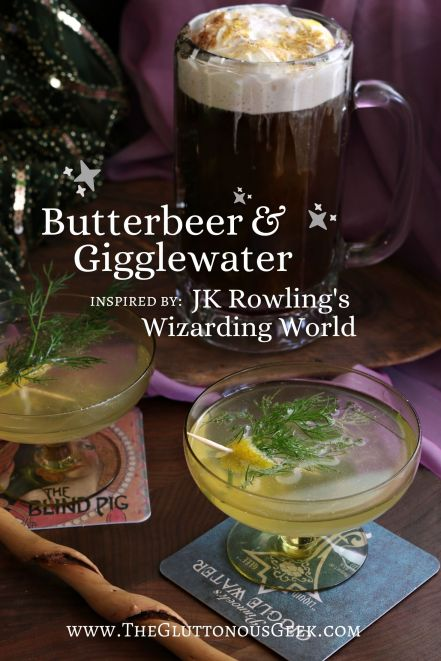 Butterbeer & Gigglewater inspired by Harry Potter and Fantastic Beasts and Where to Find them by JK Rowling. Recipes by The Gluttonous Geek.