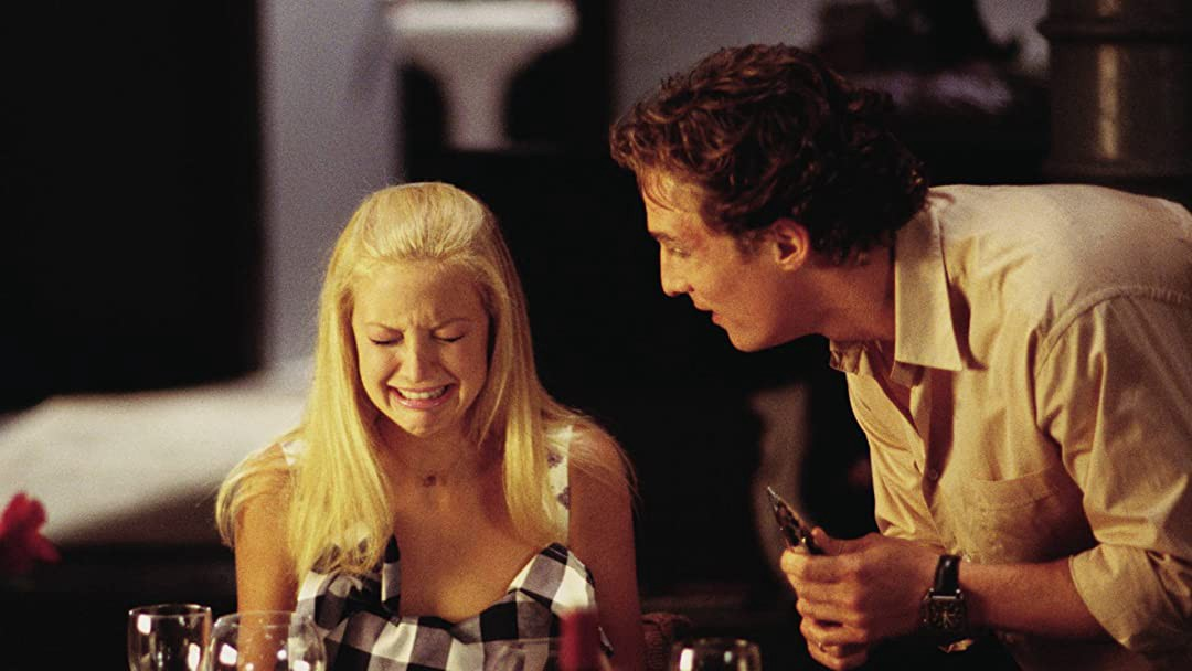 Film still from one of my favorite RomComs, How To Lose A Guy in 10 Days, with Kate Hudson and Matthew McConaughey.