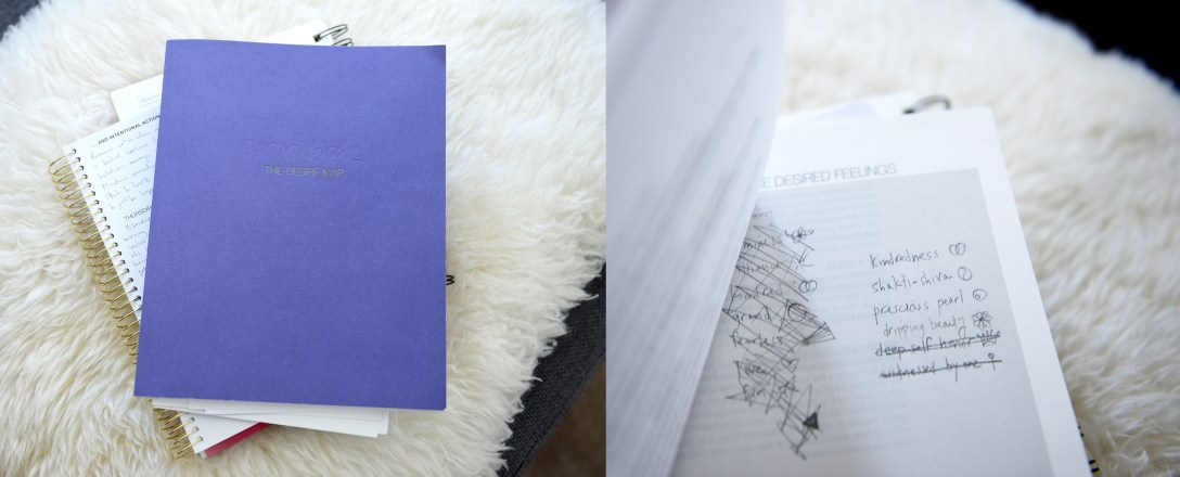 Danielle LaPorte Desire Map workbook to aid in discovering one's Core Desired Feelings (CDFs).