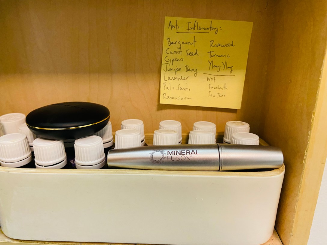 beauty supplies in a medicine cabinet