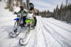 snow biking on winter trails