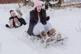 Winter sledding activity