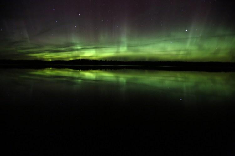 Northern lights night sky at Voyageurs National Park