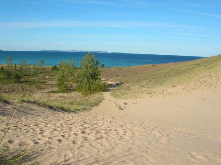 Sand dunes overlooking Lake Michigan at Sleeping Bear Dunes, Michican