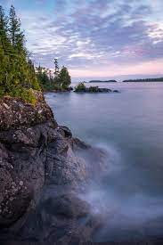 sunset view of cliff shoreline at Isle Royale National Park