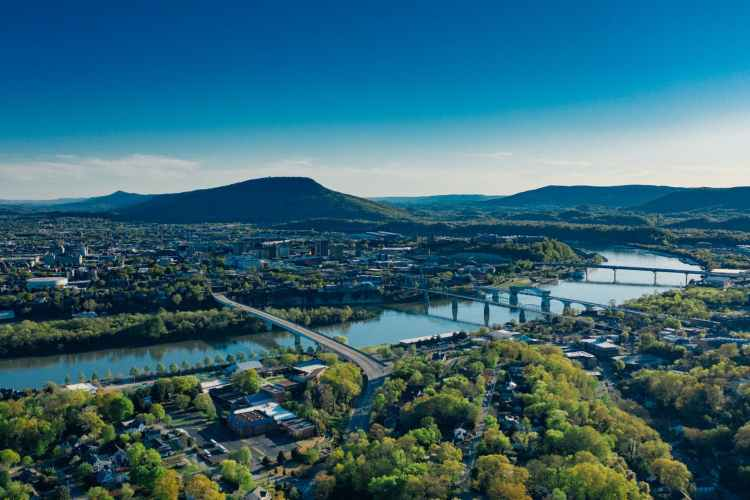 bird s eye view of chattanooga river and bridges