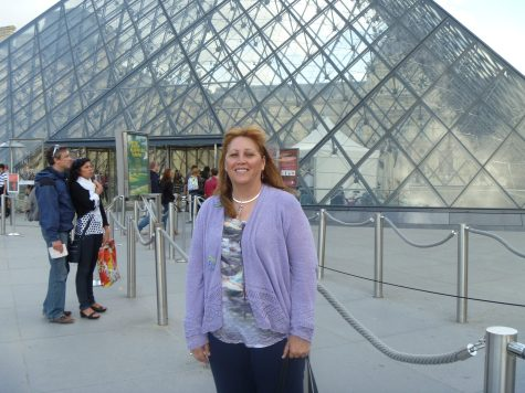 Arielle& Crystal Pyramid (outside) Louvre Museum, Paris