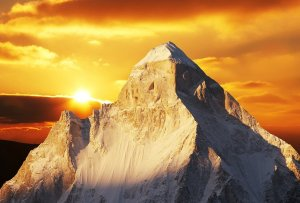 shivling peak on sunset