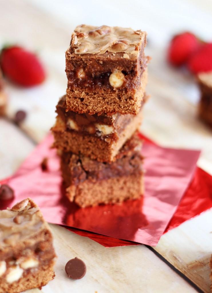 Chocolate Covered Strawberry Bars, layers of white chocolate chips, strawberry jam and milk chocolate, YUM!