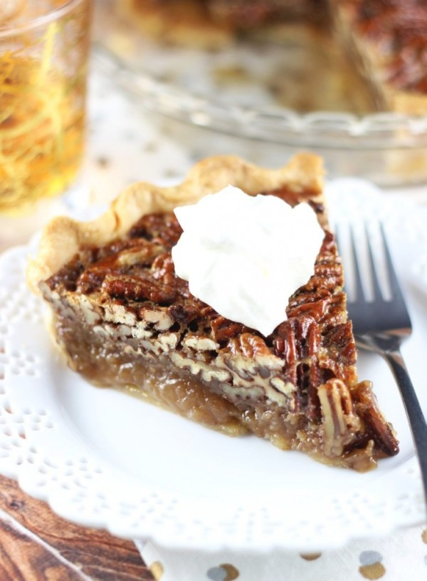 brown butter bourbon pecan pie with bourbon whipped cream 25