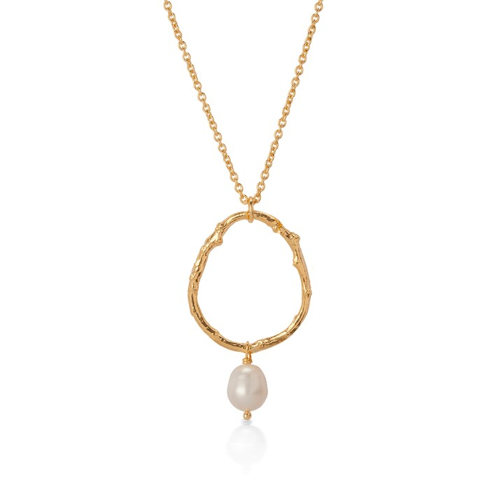 TWIG WITH PEARL NECKLACE BNN04 - 18ct yellow gold vermeil white pearl