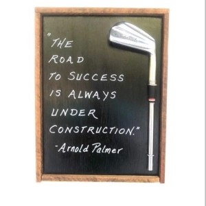 The Road to Success wood golf sign